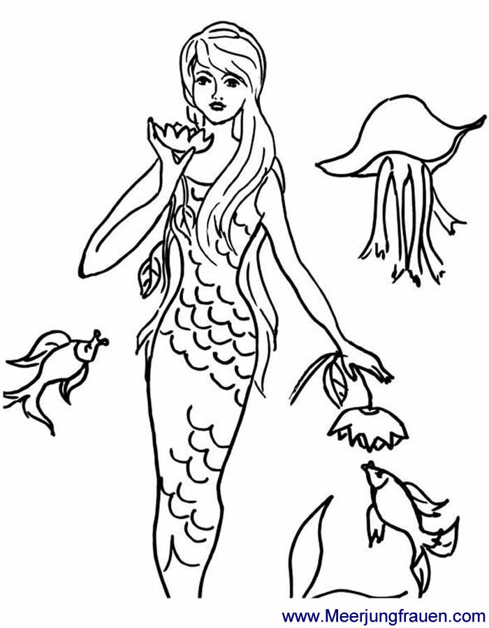 Ausmalbild Malvorlage Meerjungfrau mit Seerose und Qualle