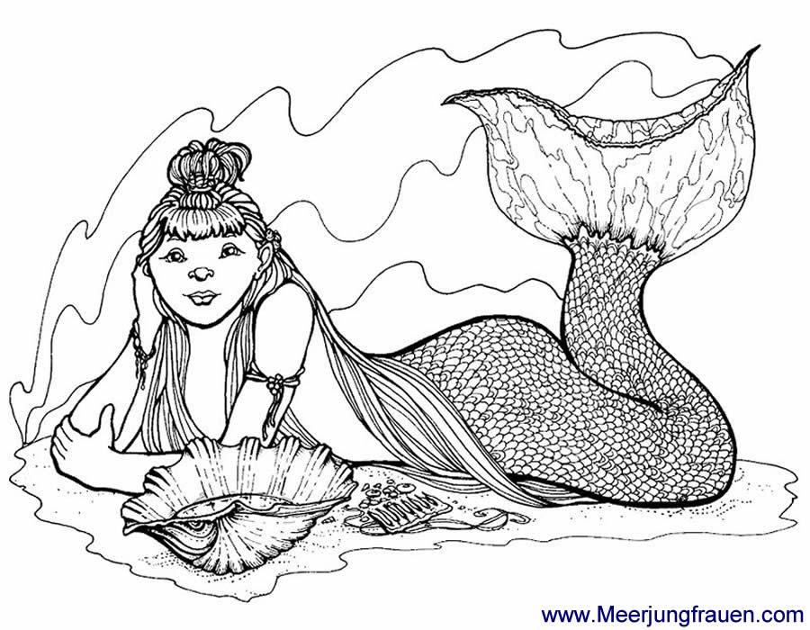 Ausmalbild Malvorlage Meerjungfrau Auf Dem Meeresgrund Mit Muschel