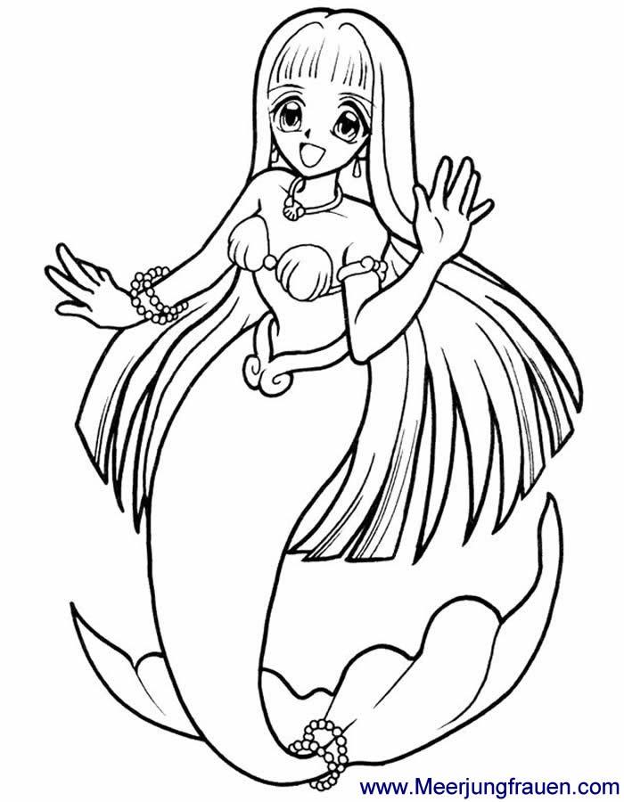 Ausmalbild Malvorlage Meerjungfrau sitzt auf dem Meeresgrund mit ...