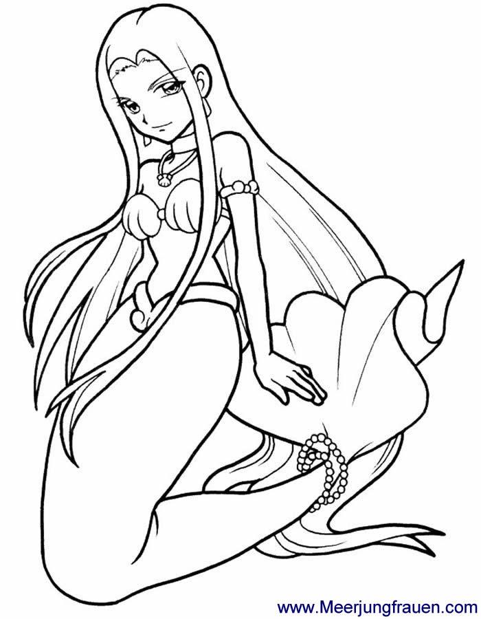 ausmalbild meerjungfrau mit perlenkette kniet