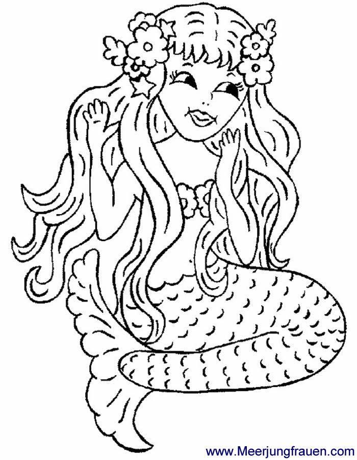 ausmalbild meerjungfrau mit blumen im haar malvorlage