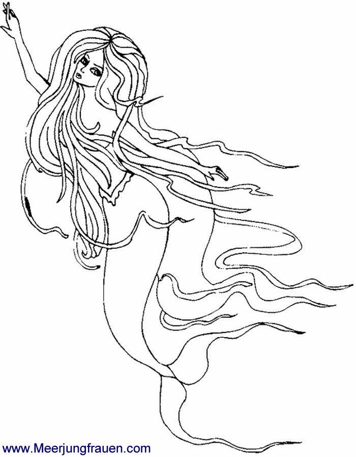 ausmalbild meerjungfrau mit wallendem haar malvorlage