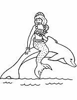 Ausmalbild Malvorlage Meerjungfrau Reitet Auf Delfin Für Kinder