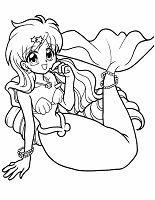 Ausmalbild Manga Meerjungfrau mit Sternen und Perlen geschmückt